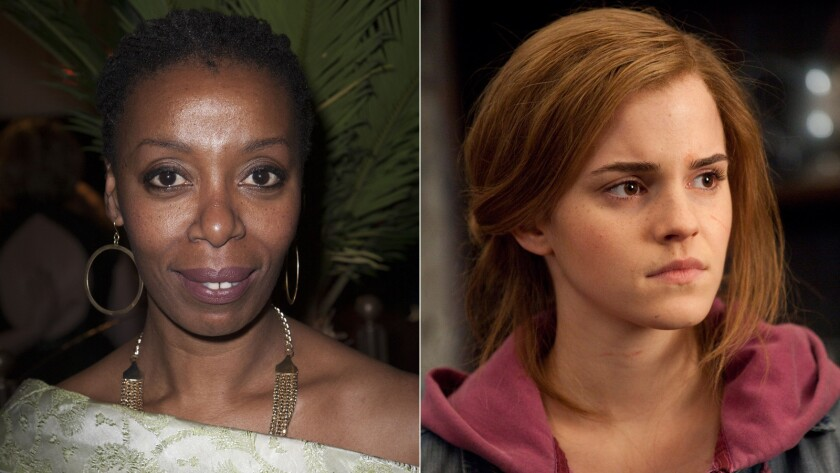 """Actress Noma Dumezweni, left, has been cast as the grown-up Hermione Granger in """"Harry Potter and the Cursed Child."""" The film version of Hermione (shown here in """"Harry Potter and the Deathly Hallows -- Part 2"""") was played by Emma Watson."""
