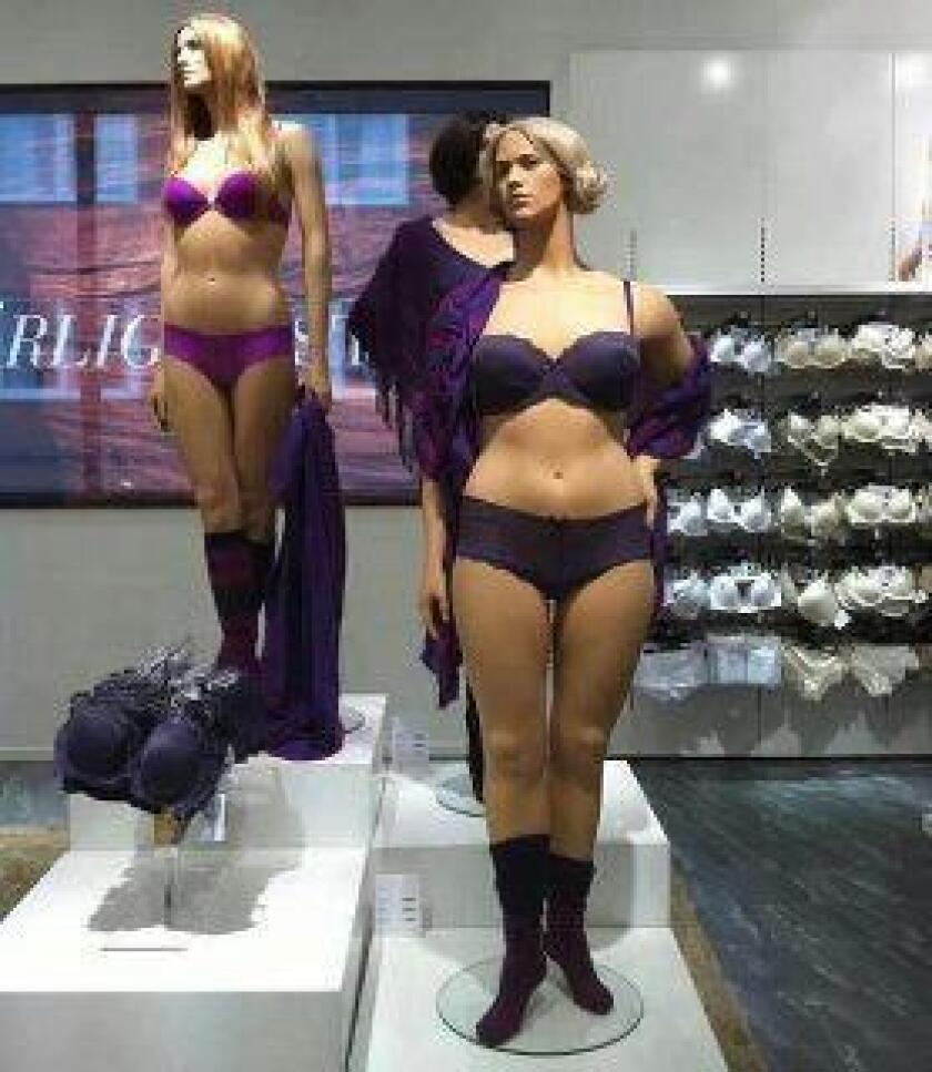 This photo of Swedish mannequins, posted on Women's Rights News' Facebook page, has added to the debate about body image in retailing.