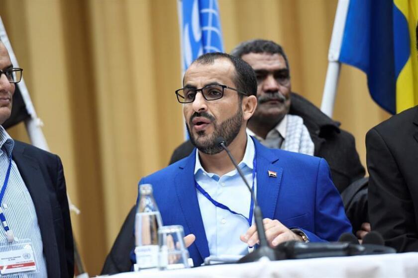El jefe de la delegación hutí, Mohammed Amdusalem, ofrece una rueda de prensa al cierre en Suecia de las consultas de paz entre el Gobierno yemení y los rebeldes hutíes en Rimbo (Suecia), el 13 diciembre de 2018. EFE/Archivo