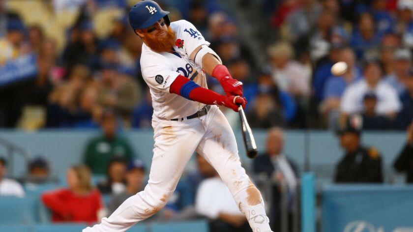 LOS ANGELES, CALIF. - MAY 27: Los Angeles Dodgers third baseman Justin Turner (10) doubled to deep r