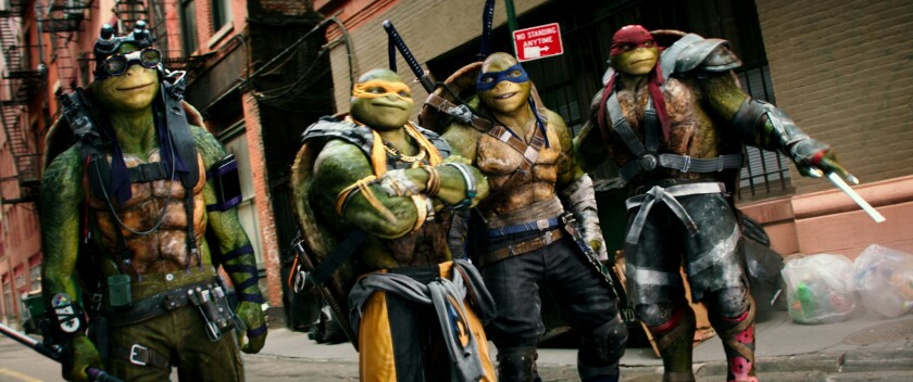 "Donatello, Michelangelo, Leonardo and Raphael in ""Teenage Mutant Ninja Turtles: Out of the Shadows."""