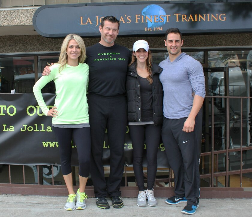 La Jolla's Finest Training has moved from Bishops Lane to a ground-floor space at 565 Pearl St.Pictured are trainers Kandal Brennen, owner Jeremy Mannning and trainers Jessica Speciale and Zach Wheeler.