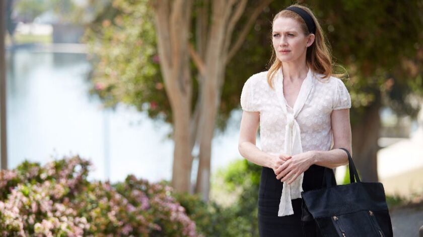 """Mireille Enos plays Alice Vaughan in a scene from ABC's """"The Catch,"""" which shoots in Los Angeles."""