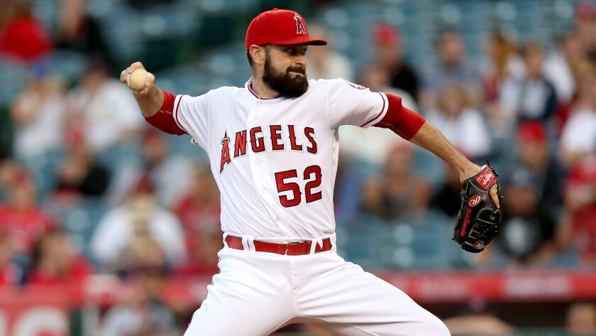 Angels starter Matt Shoemaker delivers a pitch against the Cardinals on Wednesday night.