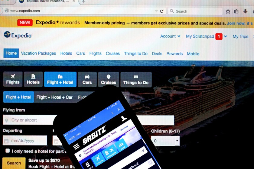 The websites for Expedia and Orbitz Worldwide are seen next to each in a photo illustration. Hotels and online travel sites like Expedia are feuding over the real danger of booking scams.