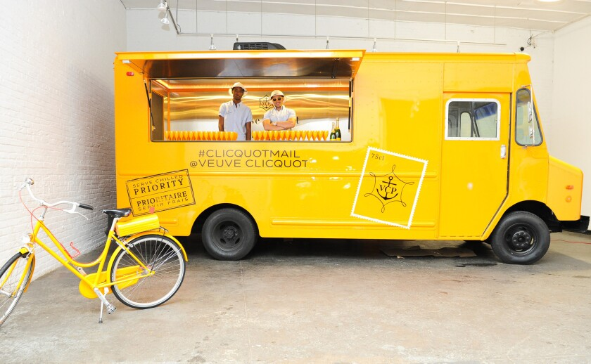 The Veuve Clicquot Mail truck is scheduled to make stops in Los Angeles.