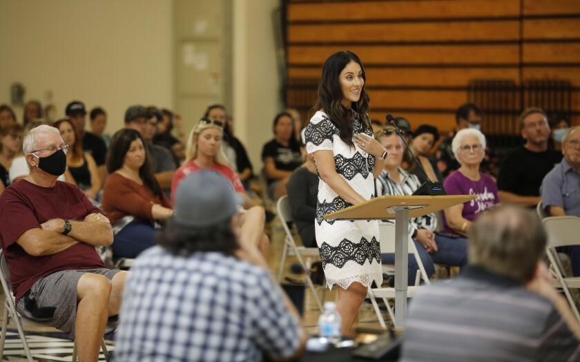 Erica Lyle, Dean of Students at Shadow Hills Elementary, speaks at a special board meeting