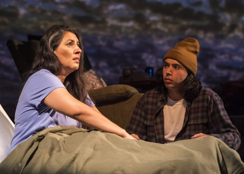 Jennifer Bobiwash (Ojibway) as Linda and Kholan Studi (Cherokee) as Edward in Native Voices at the Autry's 'They Don't Talk Back,' presented by La Jolla Playhouse, in association with Alaska's Perseverance Theatre.