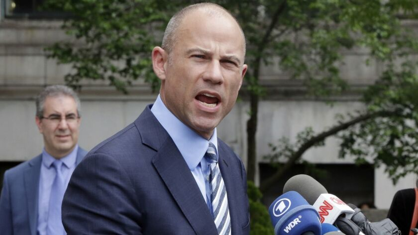 Michael Avenatti talks to the media after a federal court hearing in New York on May 30, 2018.