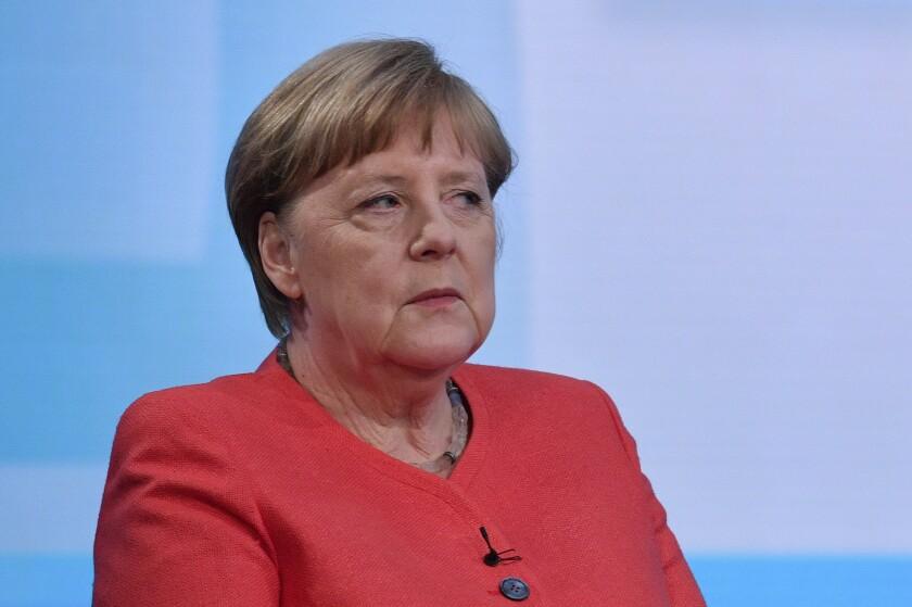 German Chancellor Angela Merkel ahead of a televised interview at the hauptstadtstudio (Capital city studio) of public broadcaster ARD in Berlin, Thursday June 4, 2020. (John MacDougall/Pool via AP)