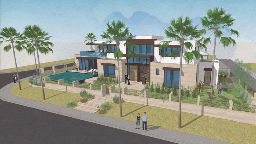 The Megdal Residence plans call for a two-story home at a 0.22-acre site at 6003 Vista De La Mesa.
