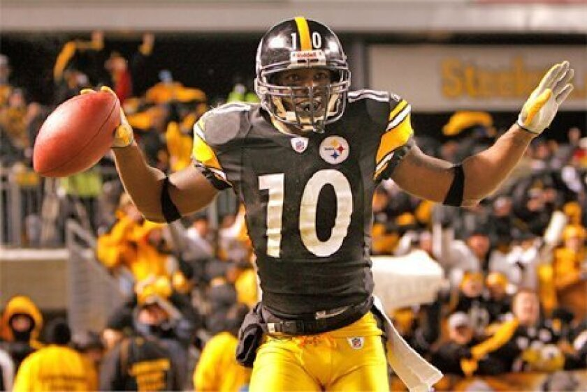 Speedy Pittsburgh wideout Santonio Holmes has two big-play touchdowns, including one against San Diego, this postseason. (Getty Images)