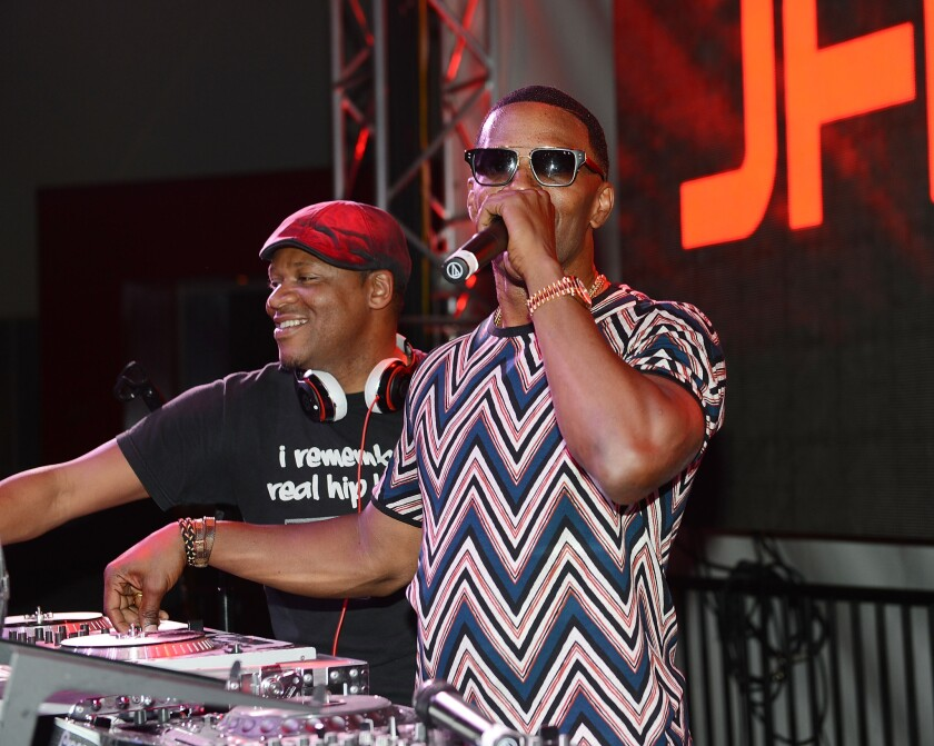 Jamie Foxx performs at the first anniversary party at SLS Las Vegas.