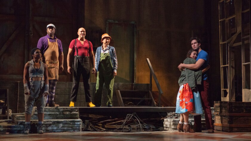 """The sharp-edged revival of """"The Fantasticks"""" at Pasadena Playhouse includes a cast with, from left, Alyse Rockett, Regi Davis, Philip Anthony-Rodriguez, Gedde Watanabe, Ashley Park and Conor Guzmán."""