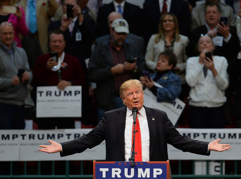 Republican presidential candidate Donald Trump speaks to supporters during a rally at the Cabarrus Arena in Concord, N.C., on Monday.