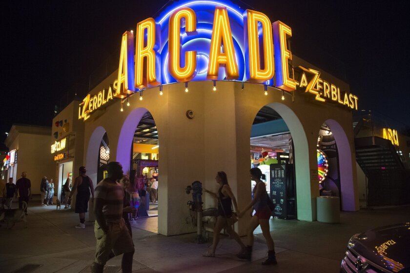Among the upgrades at Belmont Park are new, brightly colored neon signs in the arcade and midway areas