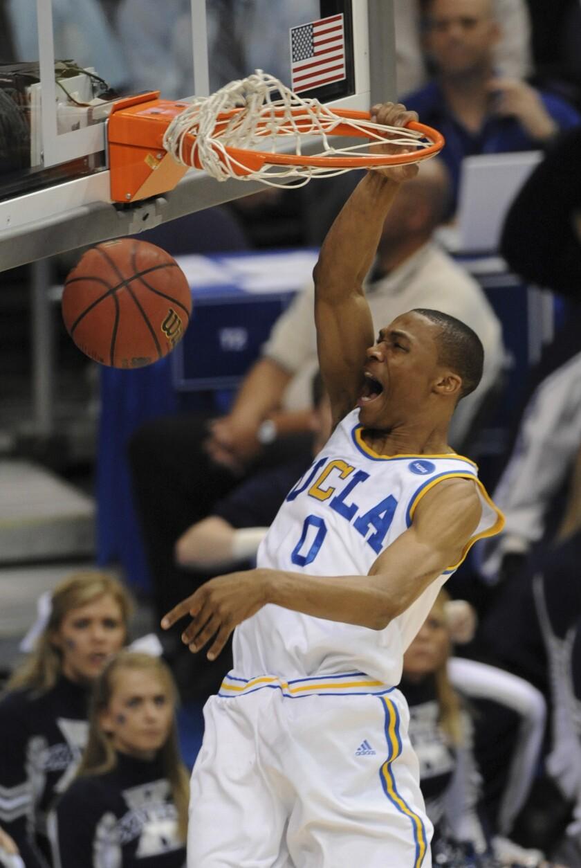 UCLA's Russell Westbrook dunks against Xavier.