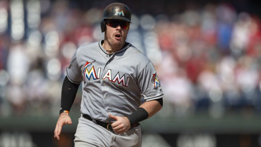Justin Bour, shown with the Miami Marlins, has agreed to a one-year deal with the Angels..