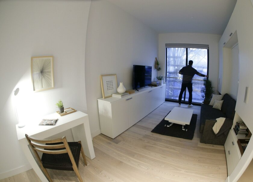 The compact interior of one of the apartment units at Carmel Place in New York.