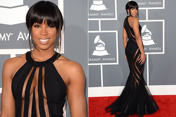 Singer Kelly Rowland shows off her little black dress at the 2013 Grammys at Staples Center in Los Angeles.