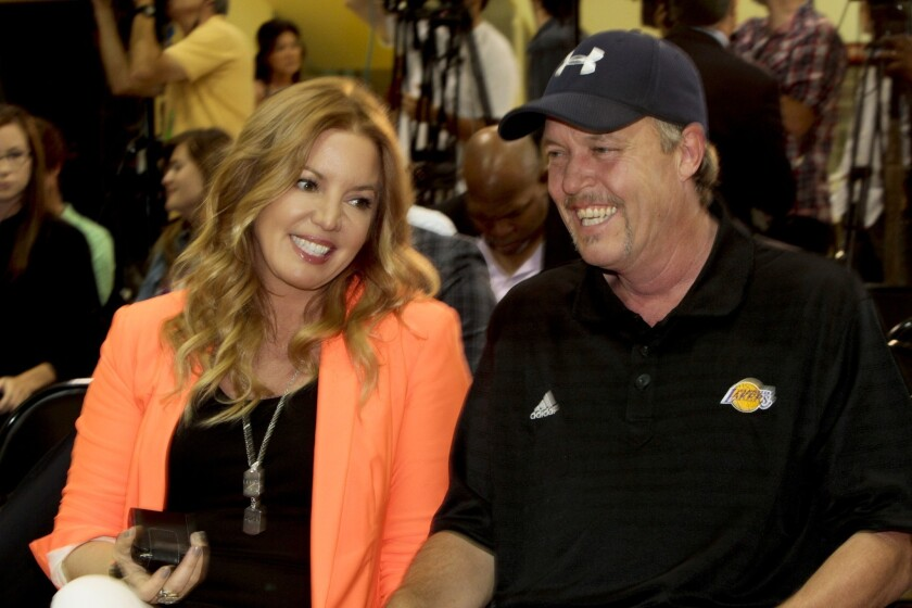 Lakers President Jeanie Buss and Vice President Jim Buss in 2012.