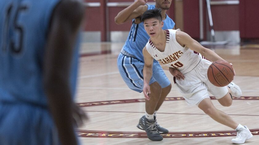 Ocean View point guard Carson Nguyen carries the ball up the floor during a game against Central Cit