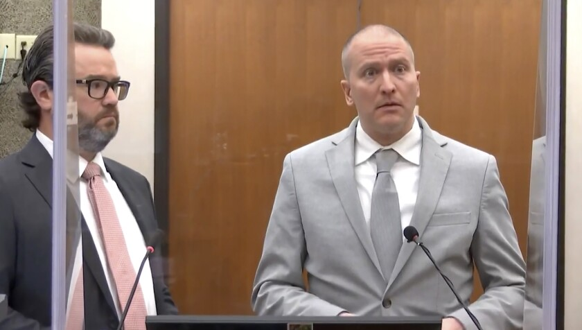 Former Minneapolis police Officer Derek Chauvin addresses the court before being sentenced to prison on June 25.