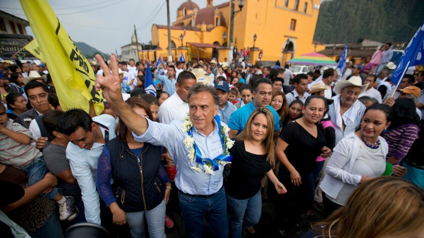 Miguel Angel Yunes Linares, seen campaigning last month, appeared to be headed for victory in the race for governor of the oil-rich Mexican state of Veracruz.