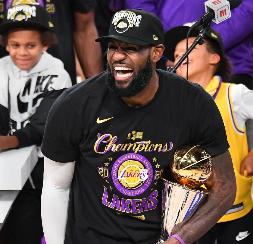 LeBron James celebrates after being chosen the 2020 NBA Finals MVP.
