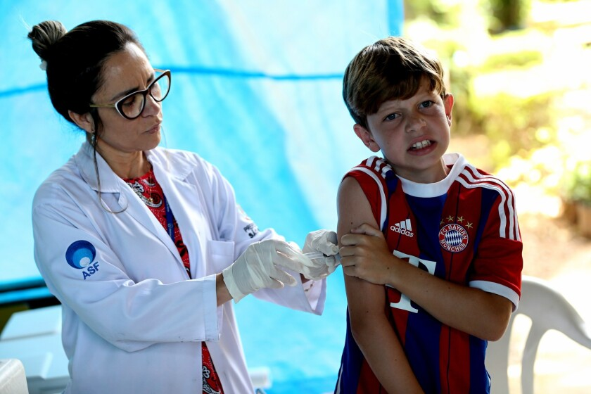 Brazil starts vaccination campagin against yellow fever in 2018.