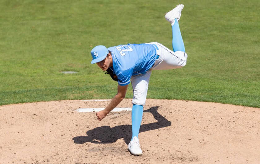 USD junior left-hander Josh Hendrickson allowed one run and two hits over three innings in Tuesday night's game against crosstown rival San Diego State.