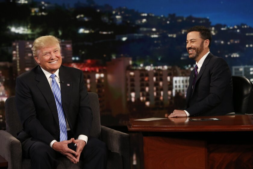 "In this photo provided by ABC, Republican presidential candidate, Donald Trump, left, talks with host Jimmy Kimmel during a taping of the ABC television show, ""Jimmy Kimmel Live!,"" on Wednesday, May 25, 2016, in Los Angeles. Trump made an appearance as a guest, along with musical guest Greg Porter"