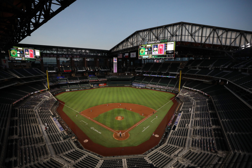 A general view of play between the Oakland Athletics and the Texas Rangers on Sept. 11, 2020.