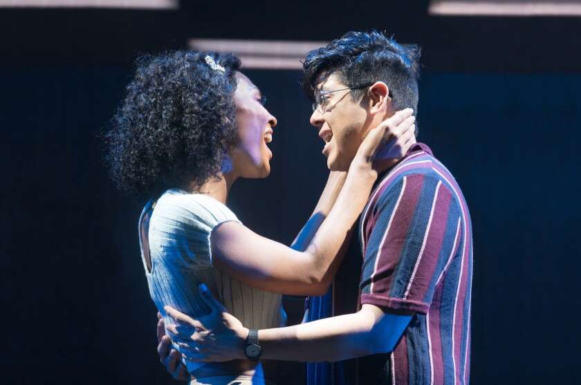 """MJ Rodriguez and George Salazar in """"Little Shop of Horrors"""" at Pasadena Playhouse"""