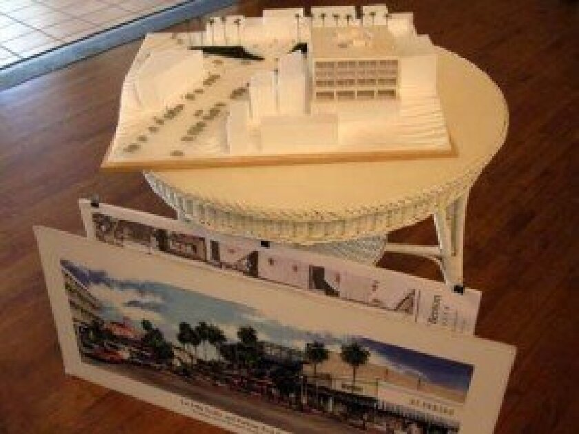 A scale model and artist's rendering of a pedestrian promenade at The Dip, a project first proposed more than 20 years ago that is being revived.