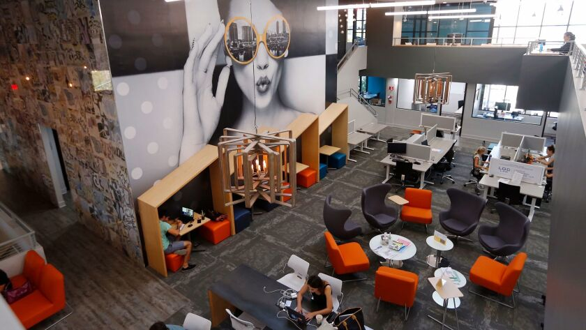 Downtown Works, a co-working space in downtown San Diego has been opened for about a year, shown here on Wednesday, Oct. 25, 2017.