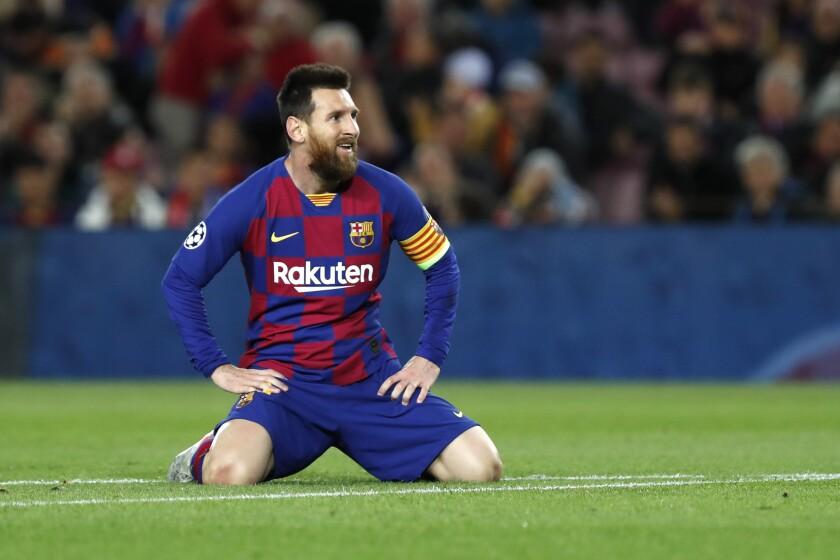 ARCHIVO - En esta foto del 5 de noviembre de 2019, el delantero argentino del Barcelona Lionel Messi durante el partido contra Slavia Praga por la fase de grupos de la Liga de Campeones. (AP Foto/Joan Monfort, archivo)