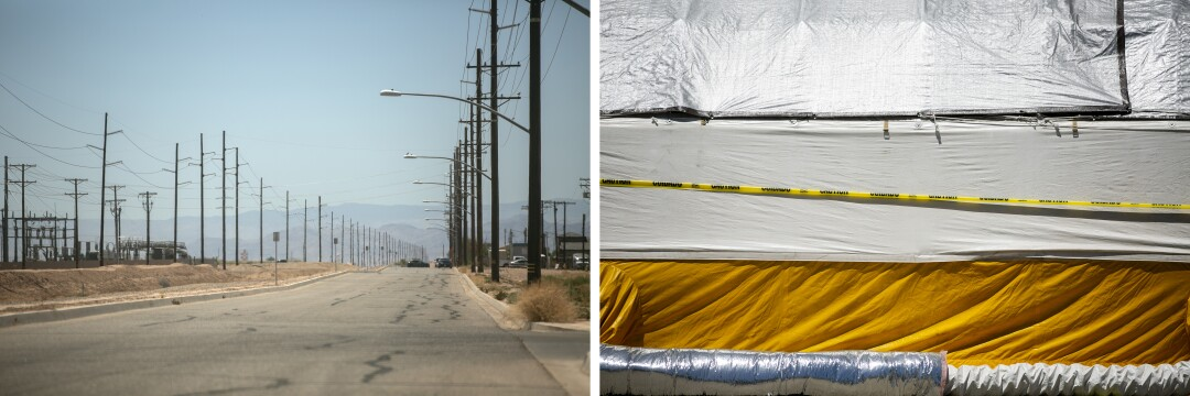 Left: A view of the town of El Centro on May 20, 2020 in El Centro, California. Right: A triage tent is set up outside of the El Centro Regional Medical Center.