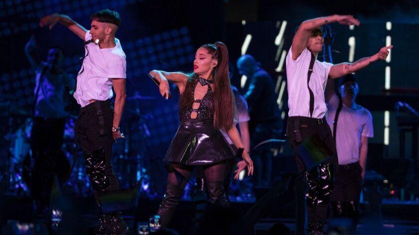 Ariana Grande performs Saturday night during KIIS-FM's Wango Tango concert at the Banc of California Stadium.