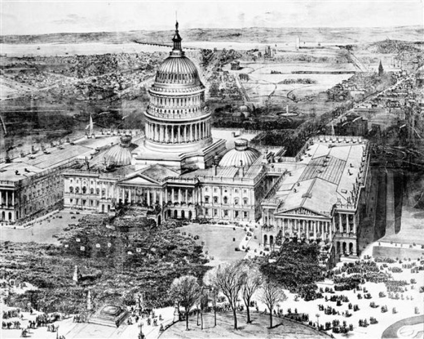 In this artist rendering the public inauguration of Rutherford B. Hayes takes place in front of the Capitol on the East Portico in Washington, March 5, 1877.  The unfinished Washington Monument can be seen in far background.  The Smithsonian Mall is on the left and Pennsylvania Avenue runs off to