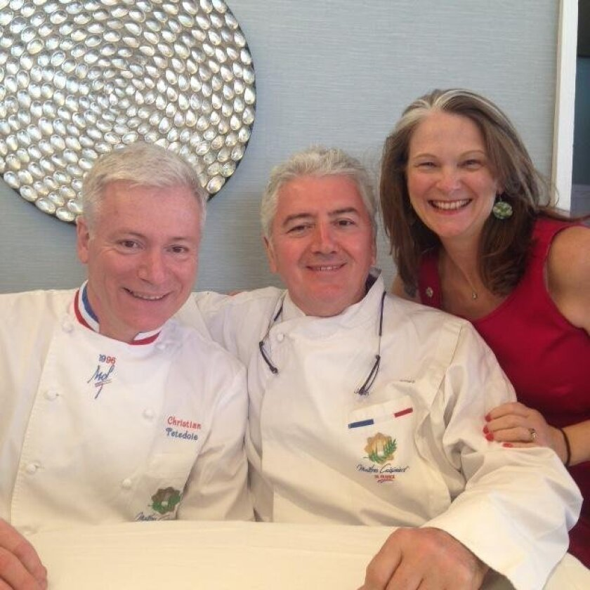 Master Chef Christian Tetedoie with Master Chef Jean-Louis Dumonet and his wife, Karen Dumonet