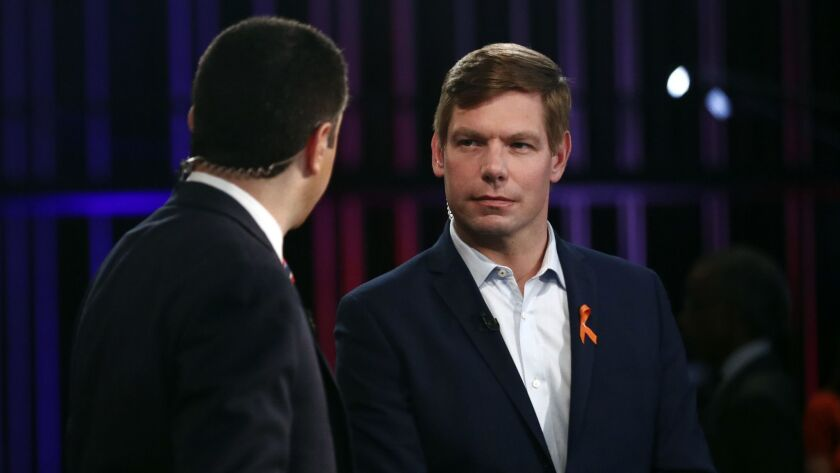 Democratic presidential candidate Rep. Eric Swalwell, D-Calif., speaks before the Democratic primary