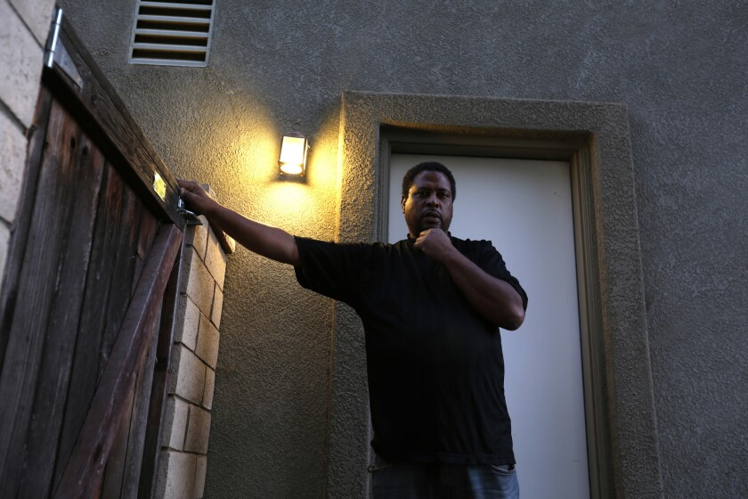 Fredrick Jefferson at the home in Corona where he is staying. Jefferson 46, is among millions of Californians who lost their driver's licenses because of unpaid traffic fines.