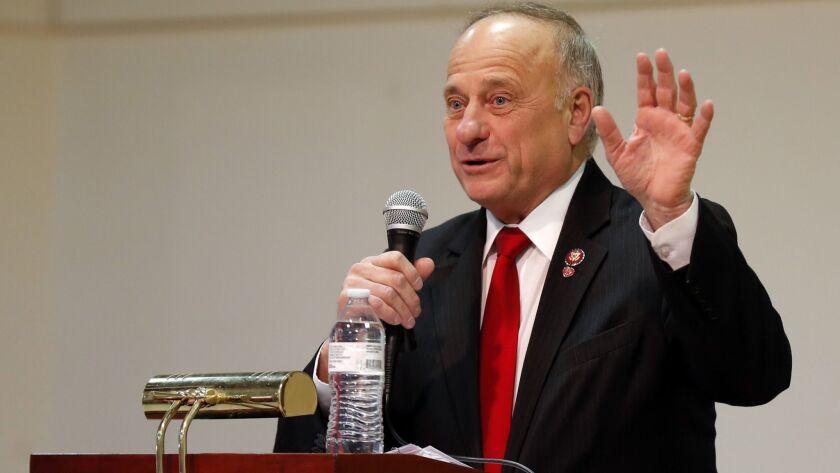 U.S. Rep. Steve King (R-Iowa) speaks during a town hall meeting Saturday in Primghar, Iowa.