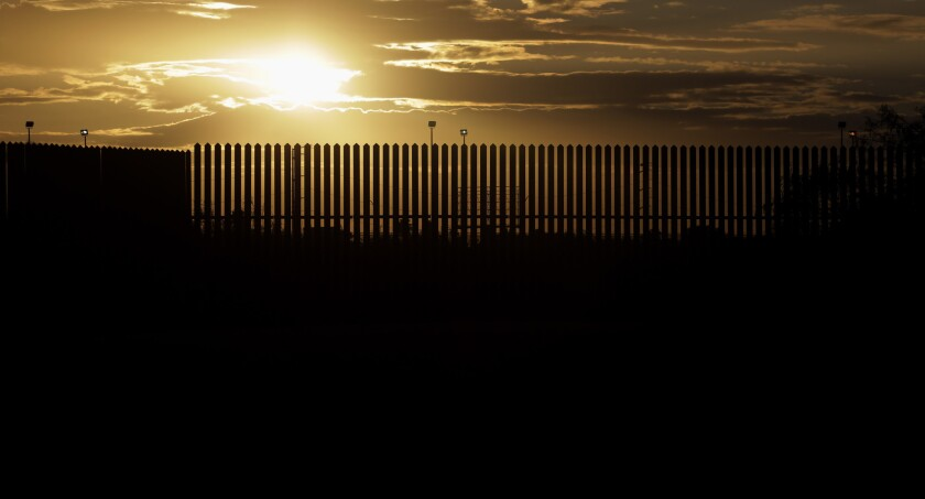 The border fence in Hidalgo, Texas.