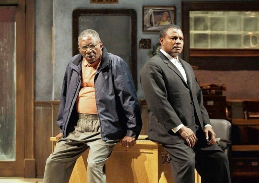 "Charlie Robinson, left, and Montae Russell in ""Jitney."""