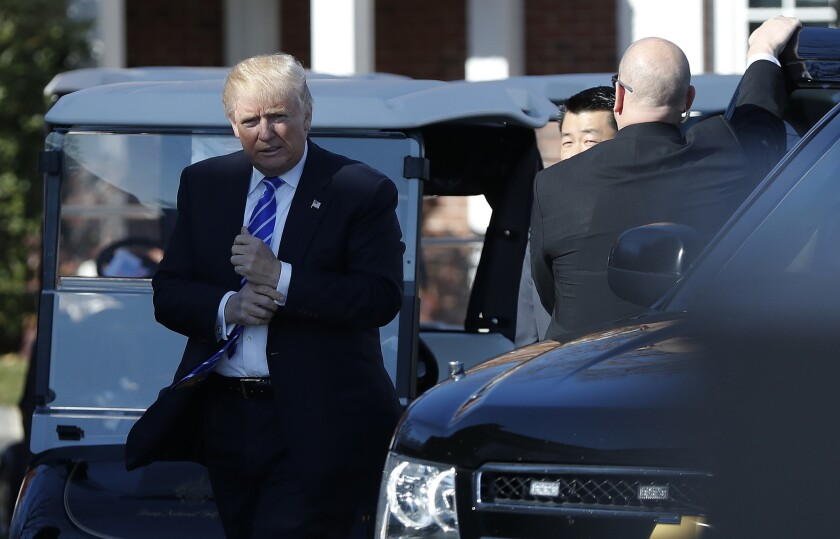 President-elect Donald Trump arrives at his golf course in Bedminster, N.J., on Nov. 19, 2016.
