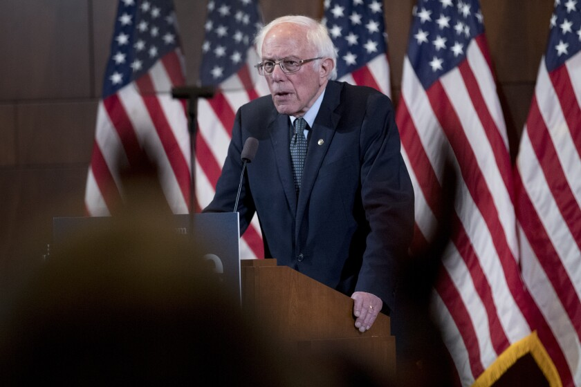 Democratic presidential candidate Sen. Bernie Sanders, I-Vt., delivers his response to President Donald Trump's State of the Union at The Currier Museum of Art, Tuesday, Feb. 4, 2020, in Manchester, N.H. (AP Photo/Andrew Harnik)
