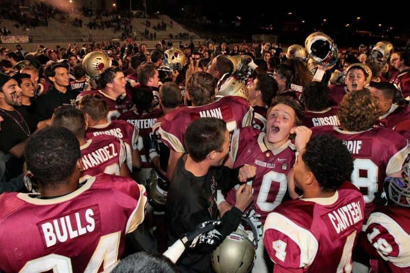 Mission Hills football players and their fans savor the Grizzlies' win over top-ranked Oceanside.