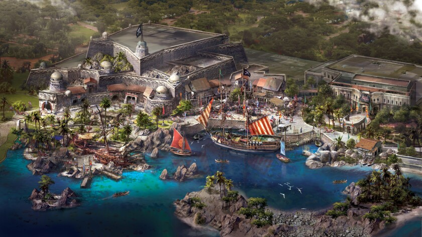 Concept art of the Pirates of the Caribbean-themed Treasure Cove at Shanghai Disneyland in China.